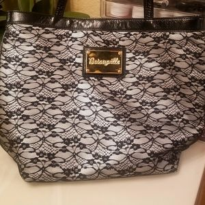 Betse Johnson- Betseyville silver and black tote